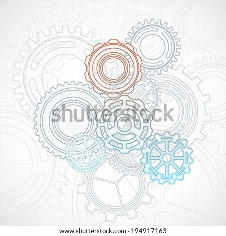 Gears background - stock vector