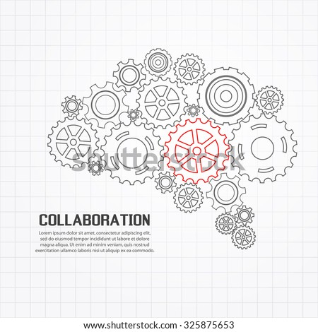Gears brain for cooperation or teamwork with red leader - stock vector