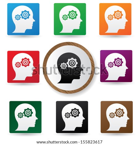 Gears brain symbol,Color buttons,vector - stock vector