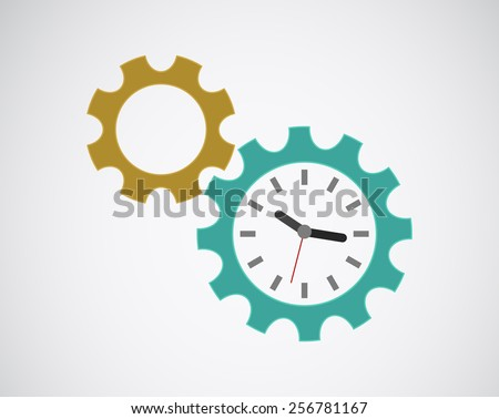 gears cog clock icon design - stock vector