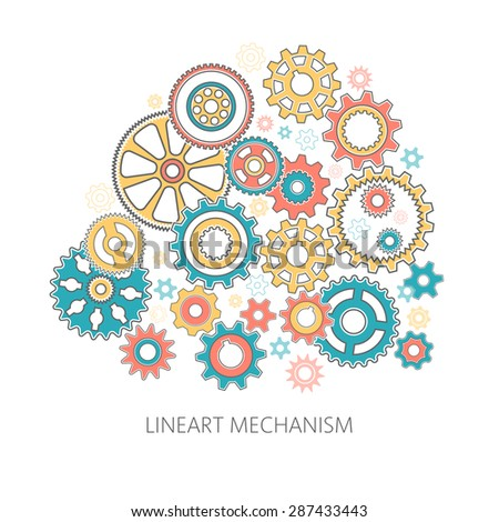 Gears collected in the mechanism - a composition in the style of lineart. Intricate clock mechanism. - stock vector