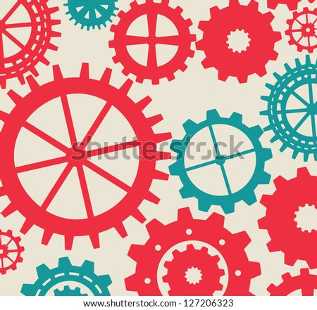 Gears colors over white background vector illustration - stock vector