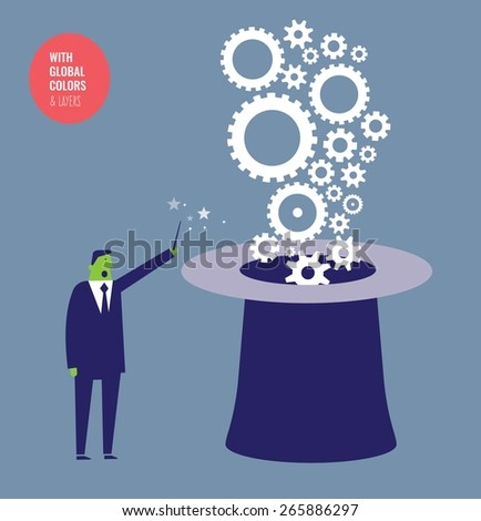 Gears coming out of a magician's hat. Vector illustration Eps10 file. Global colors&layers. - stock vector