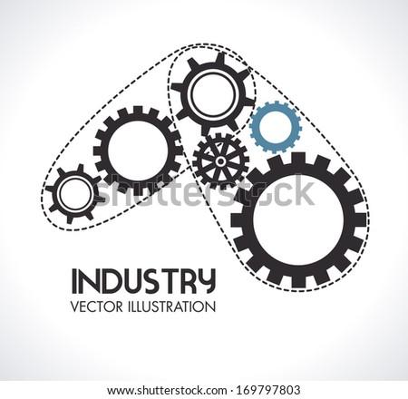 gears design over gray background vector illustration - stock vector