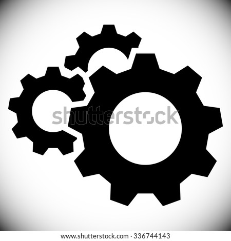Gears, gear wheels, cog wheels on white - stock vector