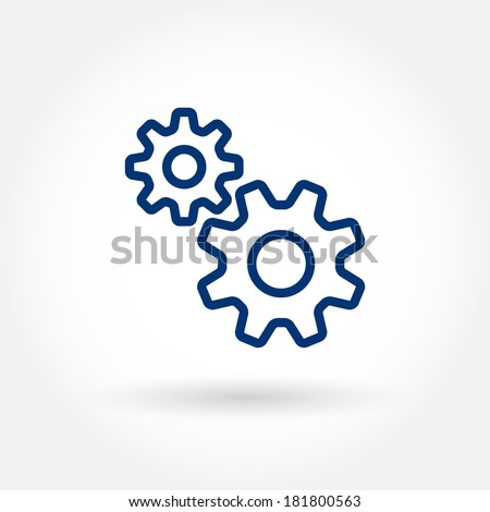Gears icon. Fine line pixel aligned mobile ui icons with variable line width. Vector illustration. - stock vector