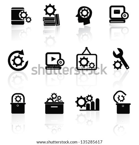 Gears icon set,vector - stock vector