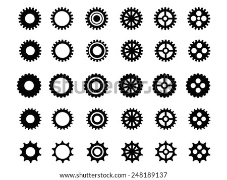 Gears icons set - stock vector