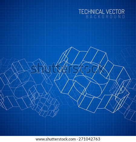 Gears linear graphic, abstract industrial design, mechanical drawing, blueprint - stock vector