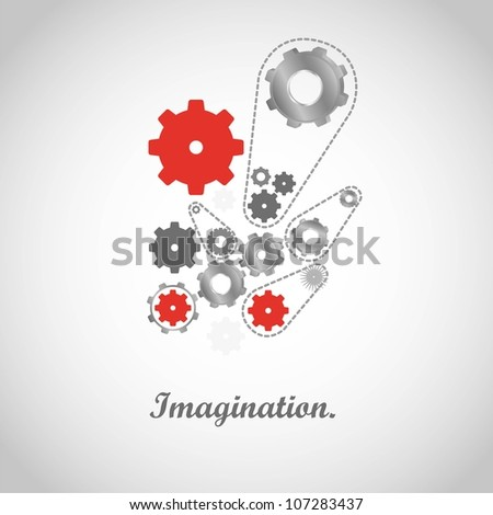 gears of colors isolated on gray, vector illustration - stock vector
