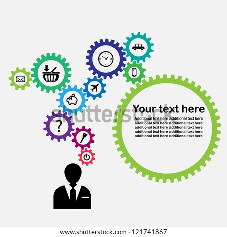gears of thoughts - colours (vector) - stock vector