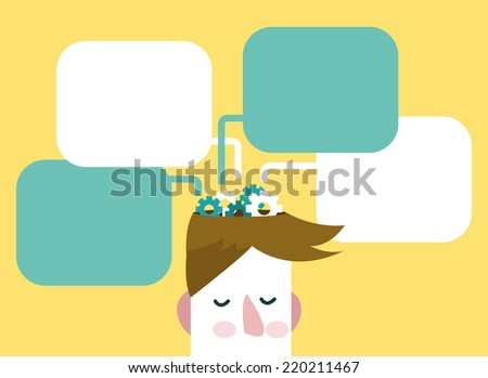 Gears of thoughts. Man with thinking bubbles.  flat design.vector illustration - stock vector