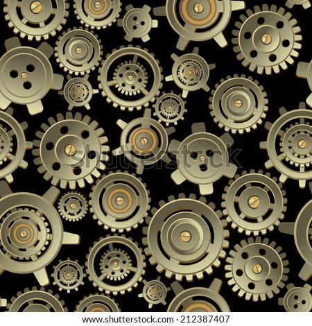 Gears seamless pattern - stock vector