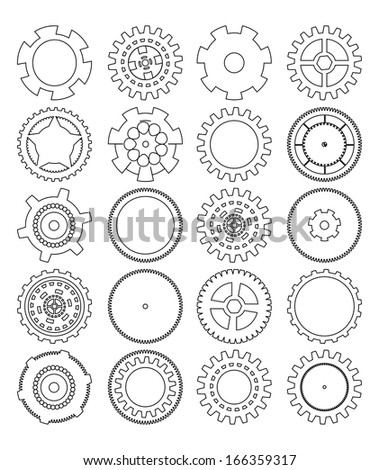 gears silhouette over white background - stock vector