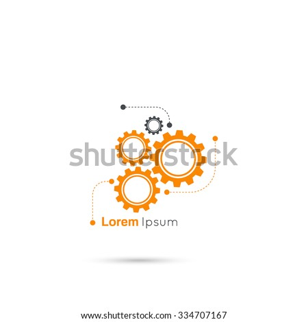 Gears symbo with lines and dots. Concept of motion and mechanics, connection and operation engineering design work. vector. minimal. Logo - stock vector