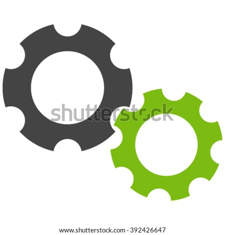 Gears vector icon. Gears icon symbol. Gears icon image. Gears icon picture. Gears pictogram. Flat eco green and gray gears icon. Isolated gears icon graphic. Gears icon illustration. - stock vector