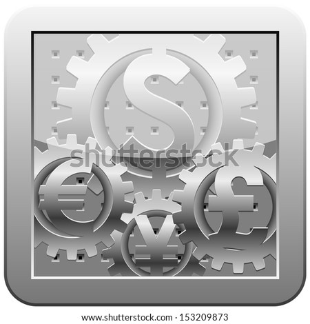 Gears with signs of world currencies. Abstract representation of forex market mechanism - stock vector