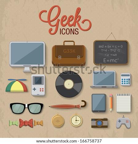 Geek accessories. Vector illustration. - stock vector