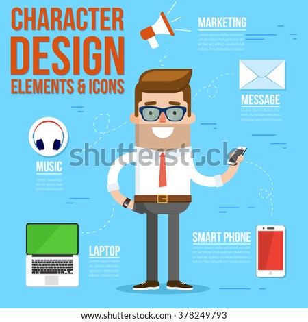 Geek Character Design Elements and Accessories. Vector Illustration - stock vector