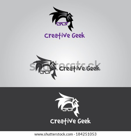 Geek Character Illustration Vector - stock vector
