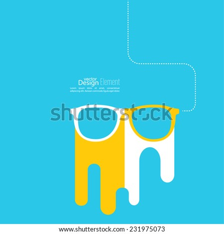 Geek glasses icon. Hipster and nerd style. for mobile apps, web sites and pages, t-shirt design. yellow, blue, white - stock vector