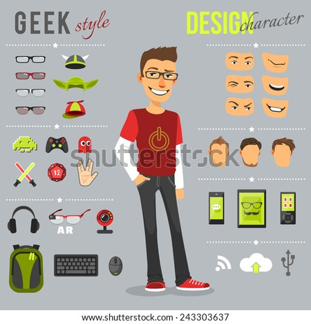 Geek style design character set with backpack computer keyboard web camera isolated vector illustration - stock vector