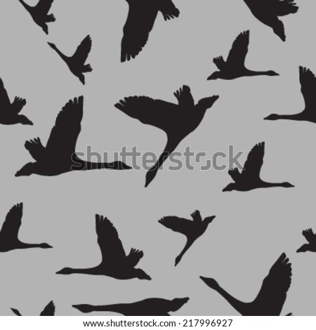 geese silhouette seamless pattern. vector illustration - stock vector