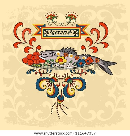Gefilte fish, traditional for Sabbath and Rosh Hashana - stock vector