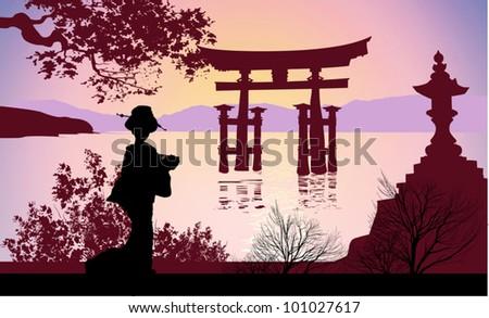 Geisha and Mount Fuji - stock vector