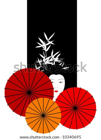 geisha composition - stock vector