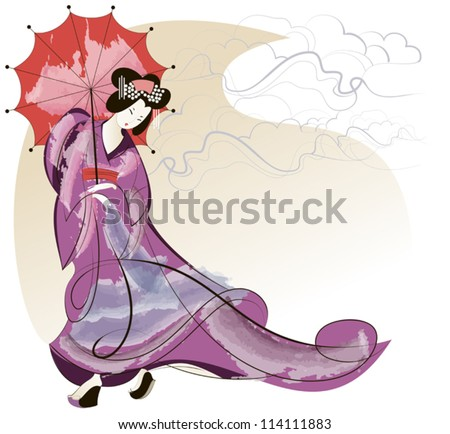 Geisha in pink kimono under a red umbrella - stock vector