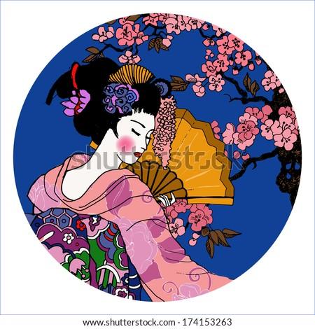 geisha. Japanese Woman. - stock vector