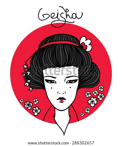 Geisha. Japanese Woman and cherry blossoms. Beautiful vector illustration - stock vector