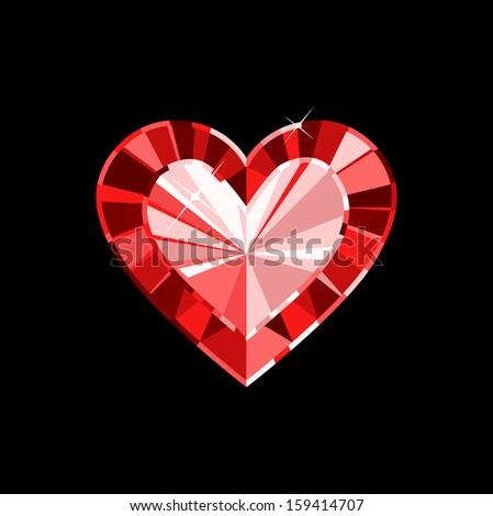 Gem Heart - stock vector