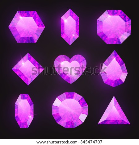 Gem Set. Amethyst. Violet Collection. Vector illustration - stock vector