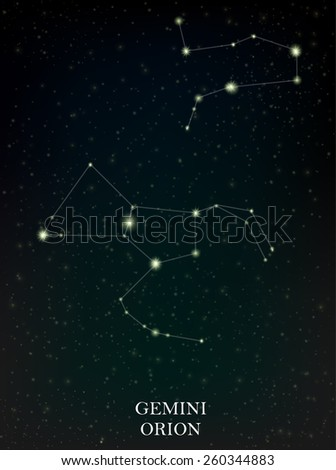 Gemini and Orion constellation - stock vector