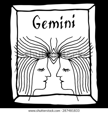 Gemini horoscope sign vectorized hand draw - stock vector