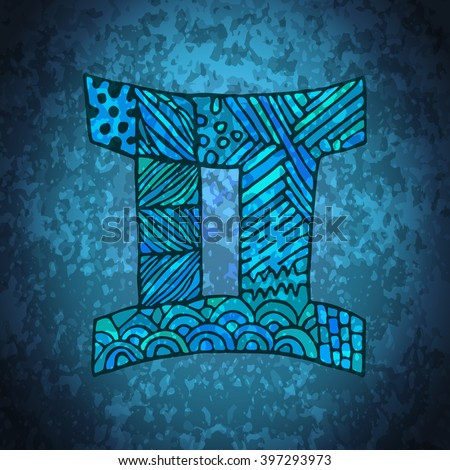 Gemini zodiac sign. Zodiac zentangle sign. Zodiac symbol. Zentangle doodle zodiac. Zentangle style vector. Zodiac symbol. Gemini horoscope. Gemini zodiac grunge banner. - stock vector