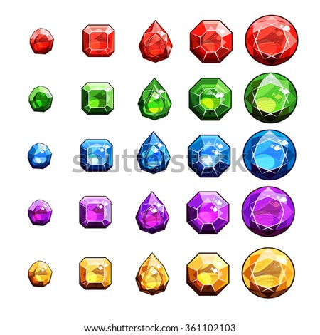 Gems And Diamonds Icons Set - stock vector