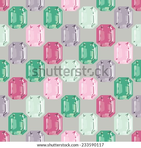 gemstone seamless holiday pattern - stock vector