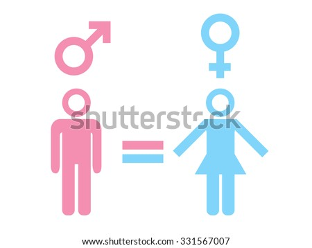Gender equality concept. Icon set of different gender persons with male female markers. Vector illustration on white background. For your business and design. - stock vector
