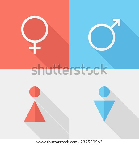 gender icons. Flat design style modern vector illustration. Isolated on stylish color background. Flat long shadow icon. Elements in flat design. - stock vector