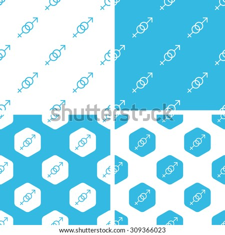 Gender signs patterns set, simple and hexagon, blue and white - stock vector