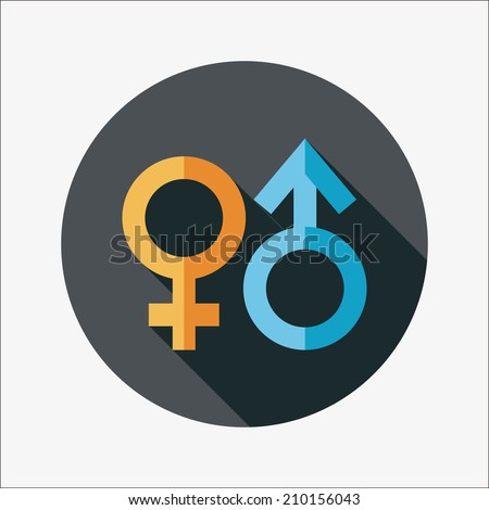 Gender symbol flat icon with long shadow - stock vector