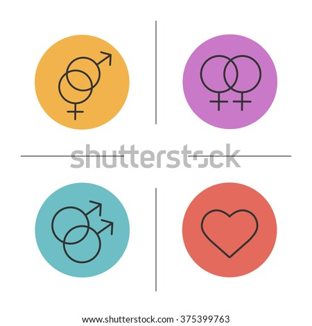 Gender symbols color icons set. Interlocked male and female sign. Double male and female signs. Homosexual, heterosexual and heart icons. Love equality logo concepts. Vector isolated illustrations - stock vector