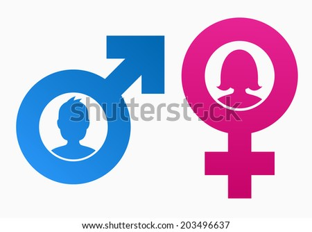 Gender symbols with heads of man and woman - stock vector