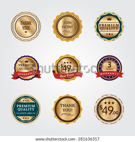 General Badges in Gold Version. General badges set for your designs, such us for your product, online shop, email newsletter or email marketing, web banner, print ad, etc. - stock vector