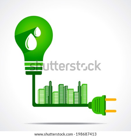 generate green energy from hydro power and give  power to city concept vector - stock vector