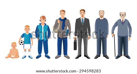 Generation of men from infants to seniors. Baby, child, teenager, student, business men, adult and senior man.  Realistic images isolated on white background. Vector illustration.  - stock vector