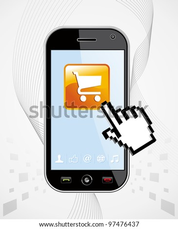 Generic black mobile device with buy app and hand cursor on white background useful for software applications presentation. EPS 8 vector, cleanly built grouped and ordered in layers for easy editing. - stock vector